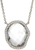 Nadri Sterling Silver CZ Rock Crystal Pendant Necklace