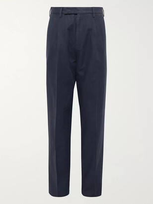 Ermenegildo Zegna Navy Pleated Cotton And Linen-Blend Trousers