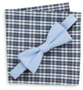 Original Penguin Gino Solid Bow Tie & Checkered Pocket Square Set