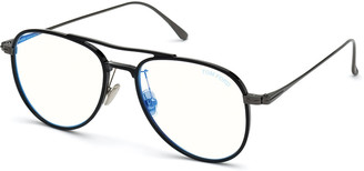 Tom Ford Men's Acetate Aviator Glasses with Blue Block Lenses