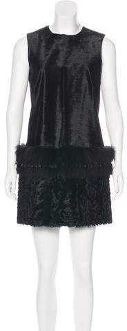 Yves Salomon Shearling & Fur-Trimmed Dress