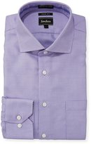 Neiman Marcus Trim-Fit Non-Iron Dobby Dress Shirt, Purple
