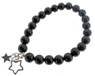Swarovski Creatinu Earth - Black Onyx Beaded Stretch Bracelet with Sterling Silver Double Star Charms and Crystal Bead - from the Earth Collection
