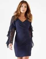 Lipsy Long Sleeve Ruffle Lace Insert Wrap Dress