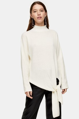 Topshop Womens Knitted Tie Hem Jumper With Wool - Ivory