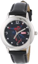 Spiderman Marvel Comics Kids' W000319 Marvel Tween Stainless Steel Black Leather Strap Watch