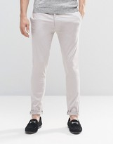 Asos Super Skinny Trousers In Cotton Sateen In Light Grey