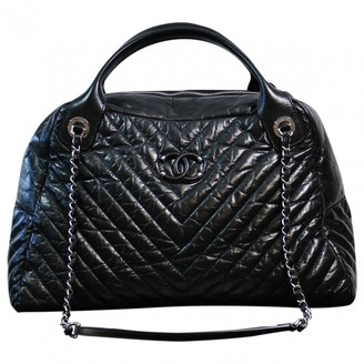 Chanel Bowling Bag Black Leather Handbags