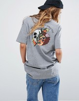 RVCA Oversized Boyfriend T-Shirt With Balance Skull Back Print