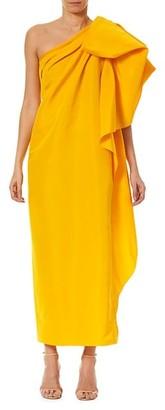 Carolina Herrera Dramatic Bow Asymmetric Silk Gown