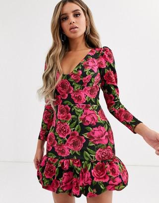 ASOS DESIGN long sleeve floral bubble hem mini dress