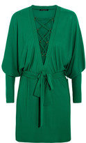 Balmain Lace-up Jersey Mini Dress - Emerald