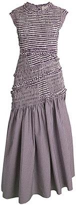 3.1 Phillip Lim Asymmetric Gingham Drop-Waist Dress