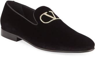 Valentino Garavani Men's Embroidered Go Logo Slip-On Loafers
