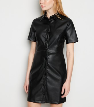 New Look Leather-Look Mini Dress