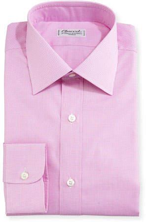 Charvet Mini-Check Dress Shirt, Pink