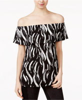 Kensie Printed Off-The-Shoulder Flounce Top