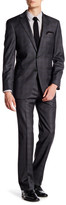Hart Schaffner Marx Grey Plaid Two Button Notch Lapel Wool Suit