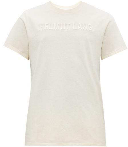 Helmut Lang Logo Embroidered Cotton T Shirt - Mens - Ivory