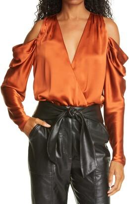 Jonathan Simkhai Remington Fluid Silk Cold Shoulder Top