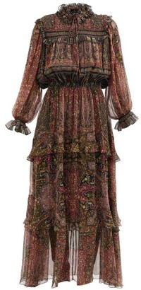 Etro Paisley-print Silk-georgette Longline Dress - Red Multi