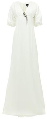 Julie De Libran - Gilda Crystal-brooch Satin Gown - Womens - White