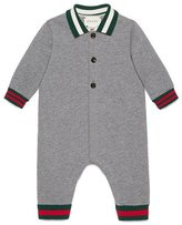 Gucci Long-Sleeve Collared Fleece Coverall, Gray/Green/Red, Size 3-24 Months