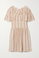 Thumbnail for your product : See by Chloe Ruffled Floral-print Crepe De Chine Mini Dress - Pink
