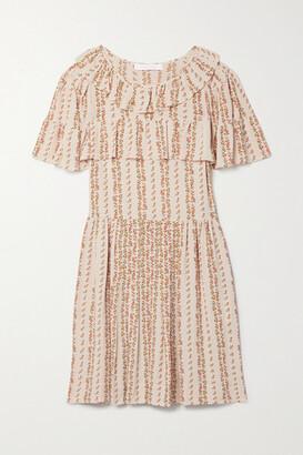See by Chloe Ruffled Floral-print Crepe De Chine Mini Dress - Pink