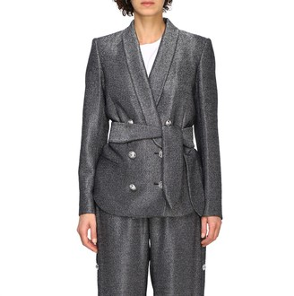 Balmain Blazer Double-breasted Jacket In Lurex Knit With Belt
