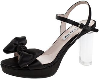 Miu Miu Black Satin And Perspex Heel Bow Detail Platform Ankle Strap Sandals Size 35