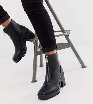 Raid Exclusive Janella black chunky square toe zip front boots