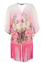Pink Flower Print Fringe Kimono