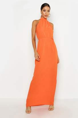 boohoo Woven High Neck Maxi Dress