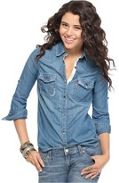 Jeans Top, Long Sleeve Heritage Denim Button Down Shirt