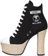 Moschino 120mm Canvas Lace Up Boots