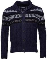 Firetrap Mens Shawl Neck Cable Cardigan Navy