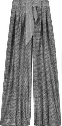Christopher Kane Belted Metallic Mesh Wide-leg Pants
