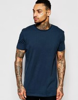 Asos Longline T-Shirt In Relaxed Skater Fit In Blue