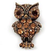 Avalaya Antique Metal Amber Coloured Crystal Owl Brooch