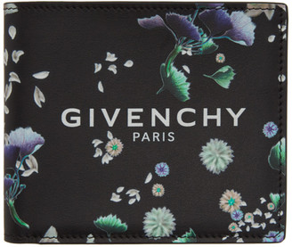 Givenchy Black Leather Flowers Wallet