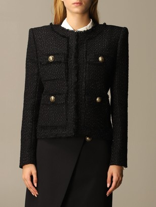 Balmain Blazer Tweed Jacket With Shoulder Pads