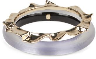 Alexis Bittar Crumpled Metal Bangle Bracelet Set