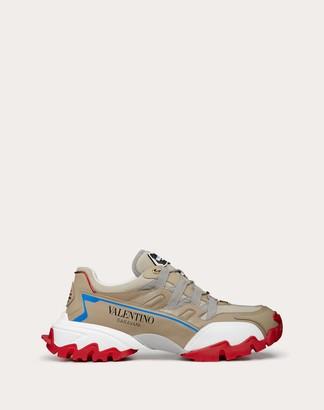 Valentino Garavani Uomo Climbers Sneaker In Leather And Fabric Man Beige 100% Pelle Di Vitello - Bos Taurus 42