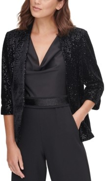Eliza J Sequinned Velvet Jacket