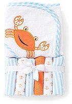 Starting Out Crab Hooded Bath Towel & Washcloths Set
