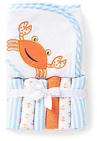 Starting Out Crab Hooded Towel & Washcloths Set