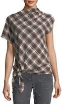 Etoile Isabel Marant High-Neck Tie-Hem Plaid Wool-Blend Top