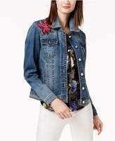 INC International Concepts Embroidered Denim Jacket, Created for Macy's