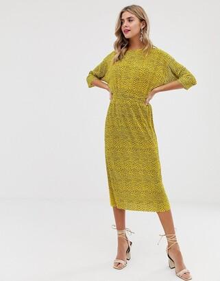Asos Design DESIGN plisse midi dress with elasticated waist in spot print-Multi